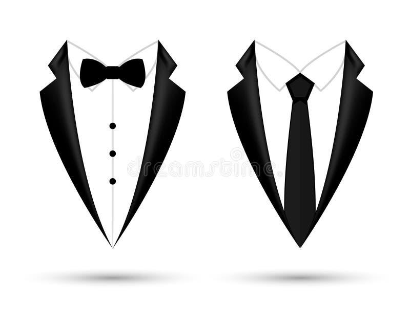 Fondo isolato icona del vestito dell'uomo con l'arco ed il legame Progettazione nera del rivestimento di affari di modo illustrazione vettoriale