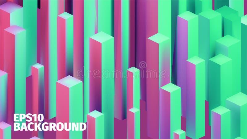 Fondo isométrico abstracto de las cajas 3d El vector cubica el modelo Ejemplo del contraste ilustración del vector
