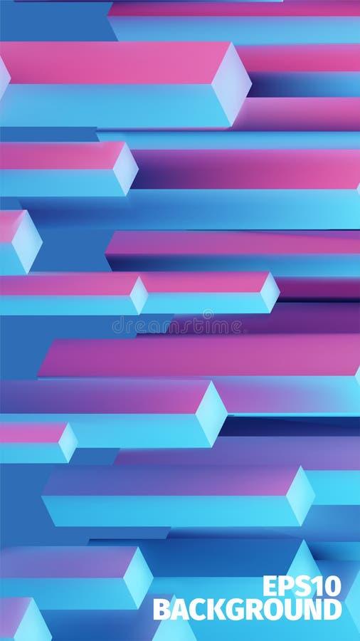 Fondo isométrico abstracto de las cajas 3d El vector cubica el modelo Ejemplo del contraste libre illustration