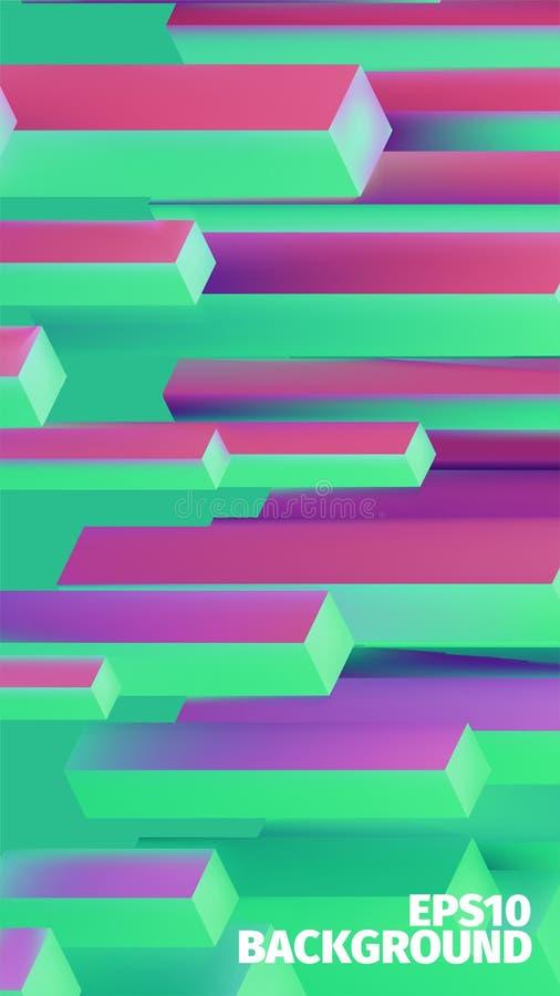 Fondo isométrico abstracto de las cajas 3d El vector cubica el modelo Ilustración brillante libre illustration