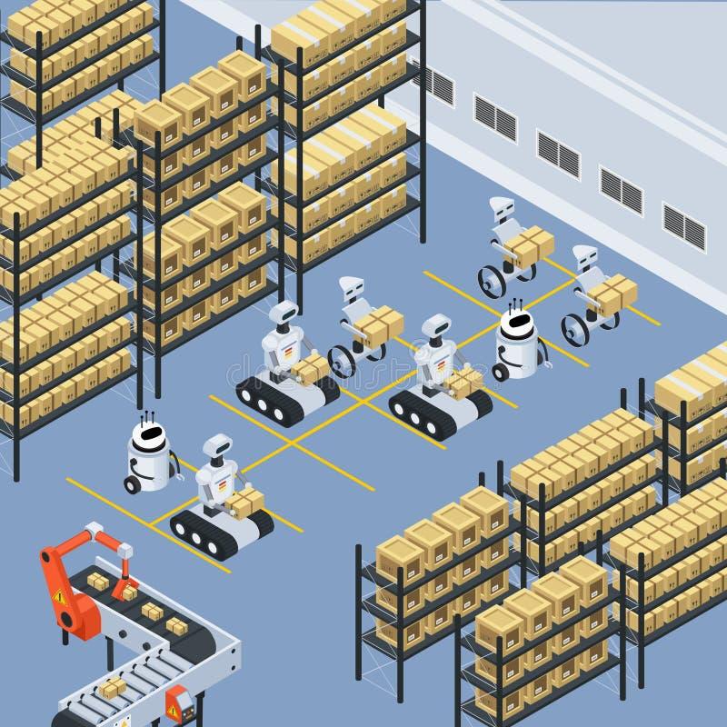 Fondo isométrico de la entrega automática de la logística libre illustration
