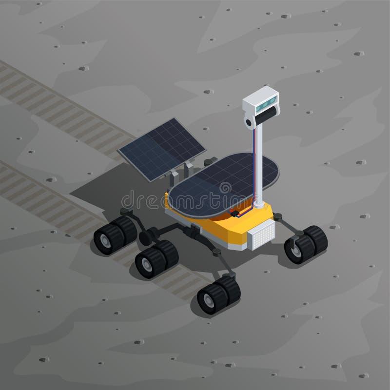 Fondo isométrico de la exploración de Marte ilustración del vector