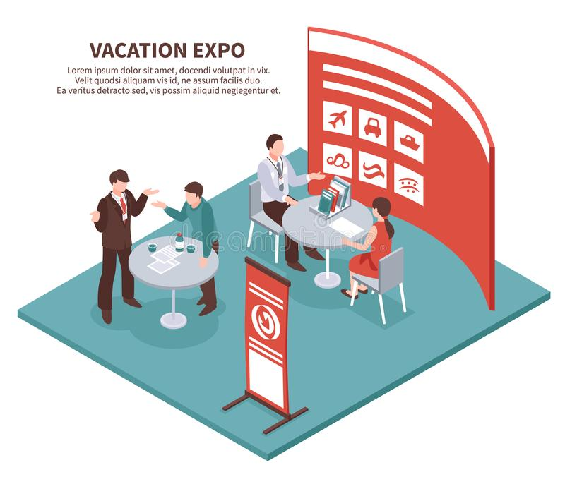 Fondo isométrico de la expo de las vacaciones libre illustration