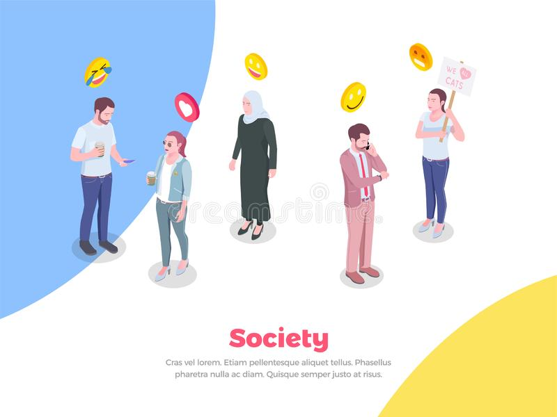 Fondo isométrico de la gente de la sociedad libre illustration