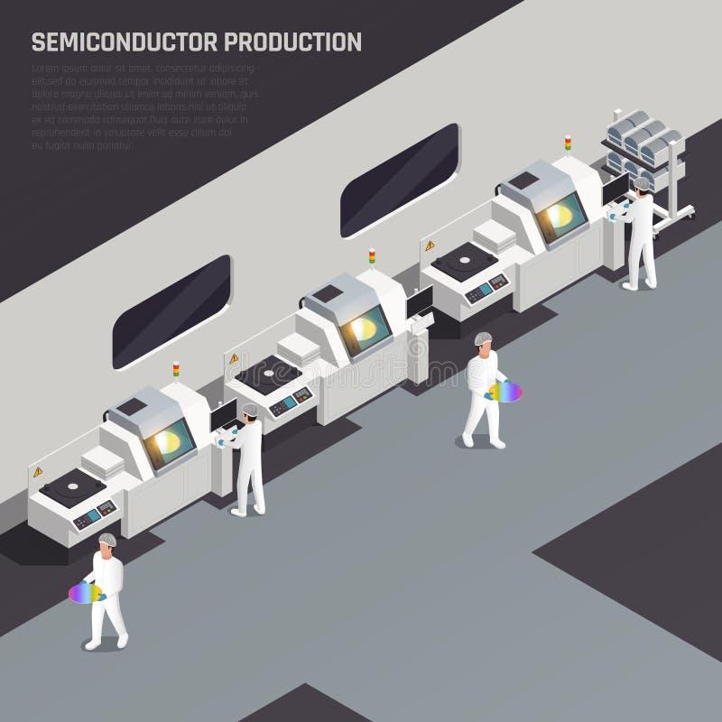 Fondo isométrico de la producción del semiconductor ilustración del vector