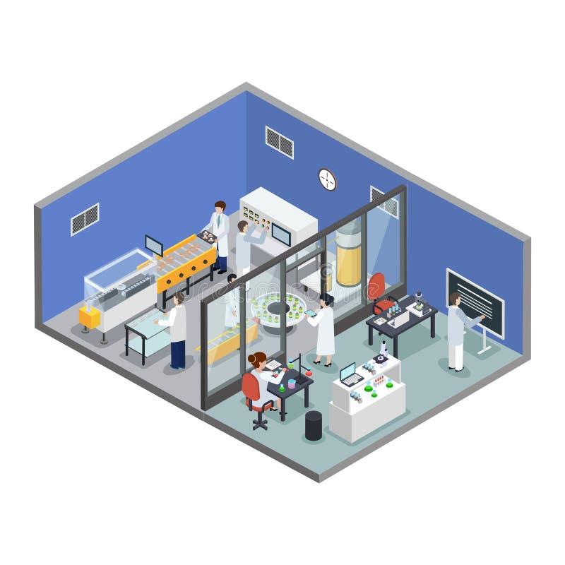 Fondo isométrico de la producción farmacéutica de la investigación stock de ilustración