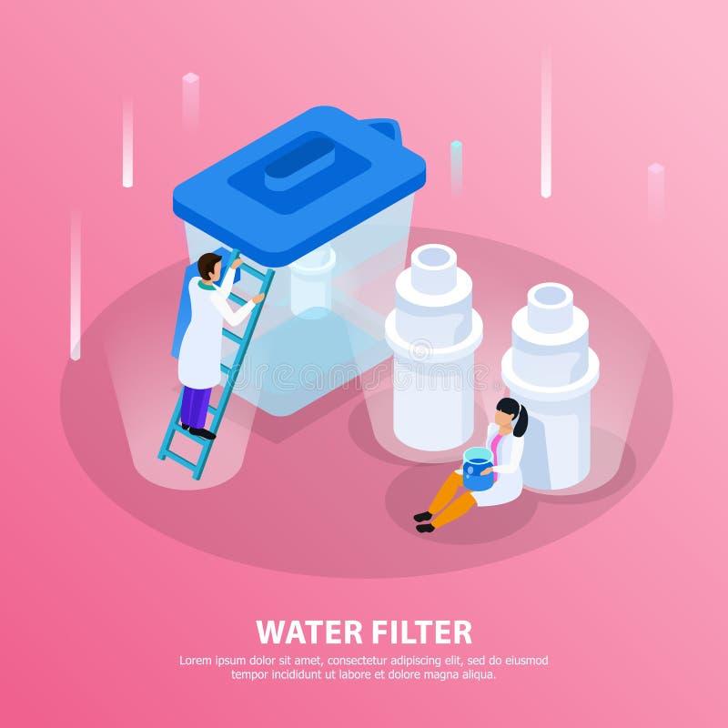 Fondo isométrico de la purificación del agua libre illustration