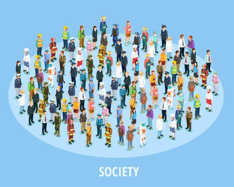 Fondo isométrico de la sociedad profesional ilustración del vector