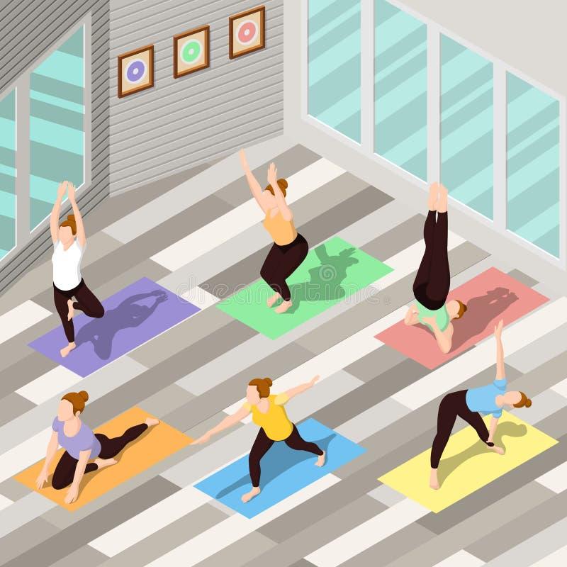 Fondo isométrico de la yoga ilustración del vector