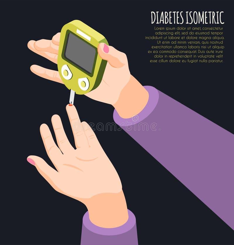 Fondo isométrico de los diagnósticos de la diabetes libre illustration
