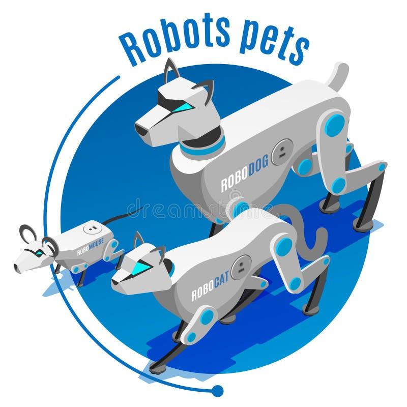 Fondo isométrico de los robots de los animales stock de ilustración
