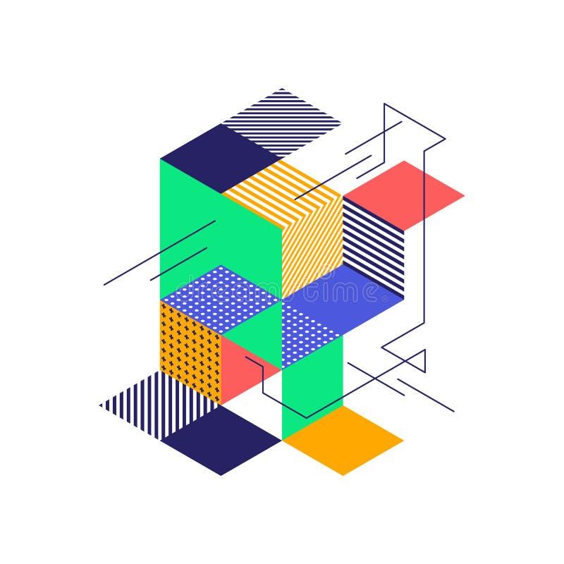 Fondo isométrico geométrico colorido abstracto de la forma ilustración del vector