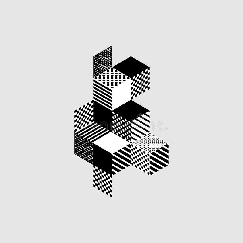 Fondo isométrico moderno geométrico abstracto de la composición stock de ilustración