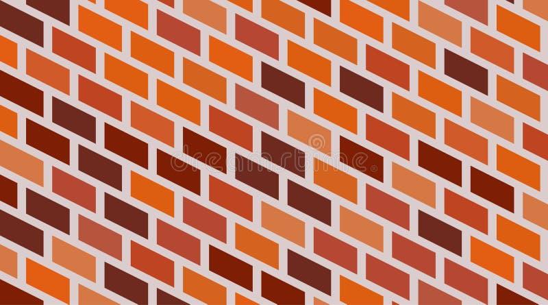 Fondo isom?trico rojo de la pared de ladrillo del vector Alba?iler?a urbana de la vieja textura Papel pintado del bloque de la ar ilustración del vector
