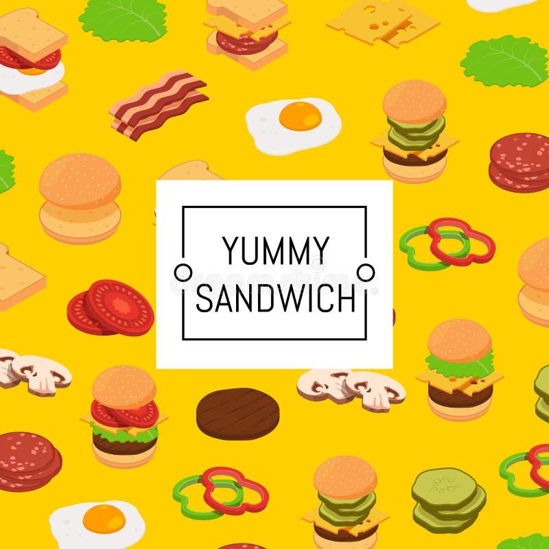 Fondo isometrico degli ingredienti dell'hamburger e modello colorato illustrazione vettoriale