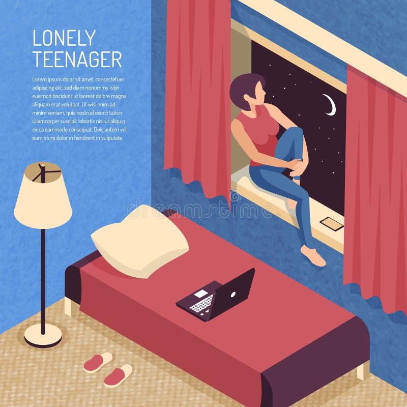 Fondo isometrico della camera da letto dell'adolescente illustrazione vettoriale