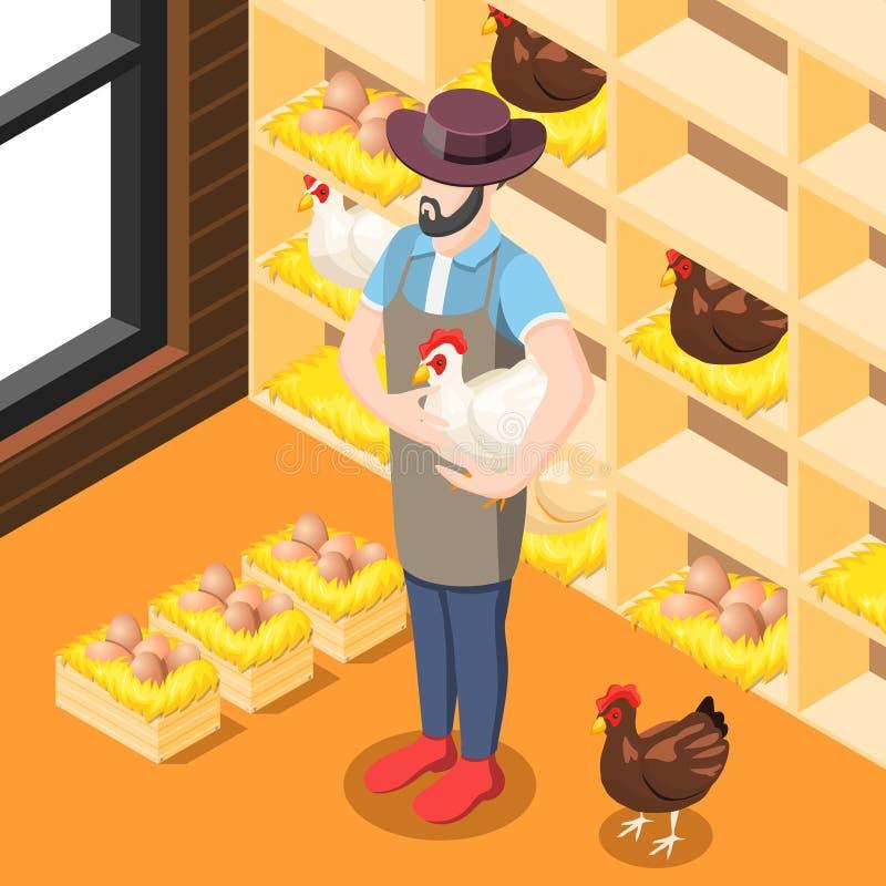 Fondo isometrico della gabbia di pollo illustrazione di stock