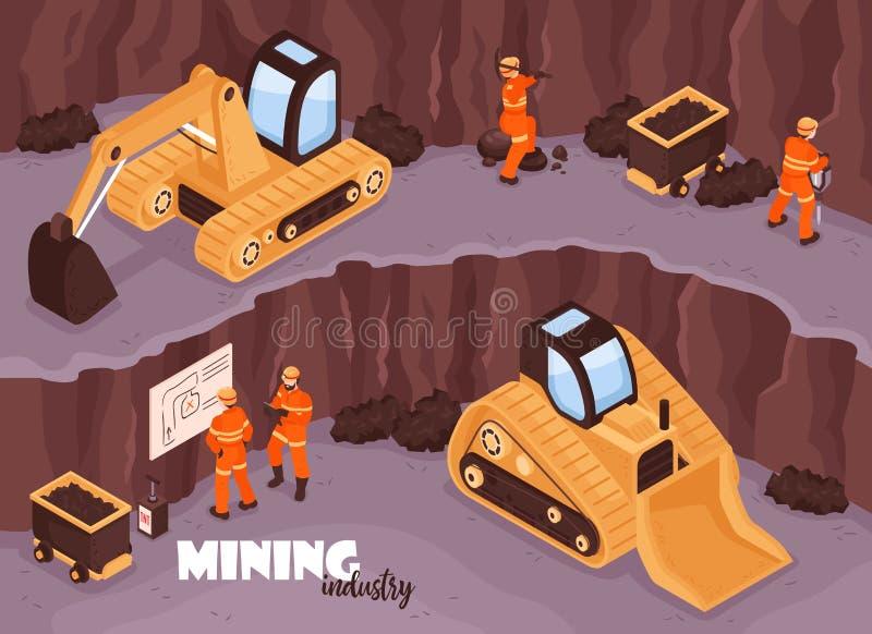 Fondo isometrico della miniera aperta illustrazione di stock