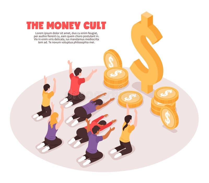 Fondo isometrico di culto dei soldi illustrazione vettoriale