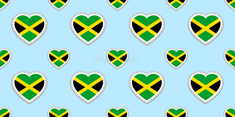 Fondo jamaicano Modelo inconsútil de la bandera de Jamaica Stikers del vector Símbolos de los corazones del amor Buena opción par stock de ilustración