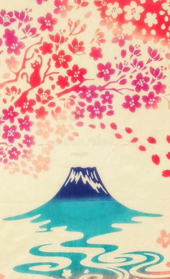 Fondo japonés, el monte Fuji stock de ilustración