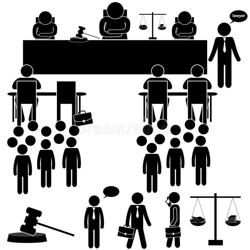 Fondo judicial con el juez y el abogado FIGURA DEL PALILLO stock de ilustración