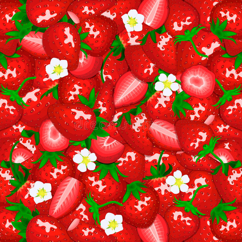 Fondo jugoso maduro de la fresa Ejemplo de la tarjeta del vector La baya fresca de cerca espaciada peló, pedazo de mitad, rebanad ilustración del vector