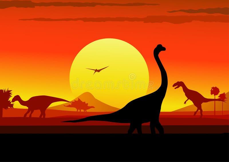 Fondo jurásico de la puesta del sol ilustración del vector