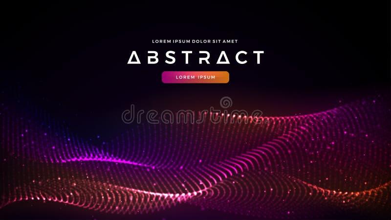 Fondo líquido abstracto dinámico de las partículas del flujo Fondo abstracto brillante del flujo de la partícula Fondo futurista  stock de ilustración