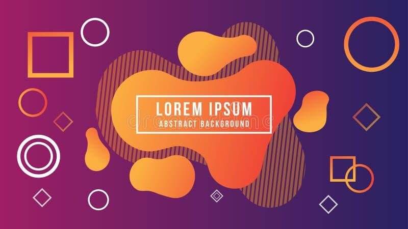 Fondo líquido abstracto, naranja, púrpura, violeta, forma, gradación stock de ilustración