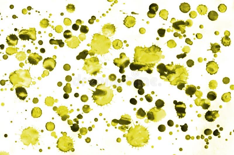 Fondo líquido de la acuarela de la pintura mojada amarilla colorida del cepillo para el papel pintado y la tarjeta de visita Mano fotos de archivo