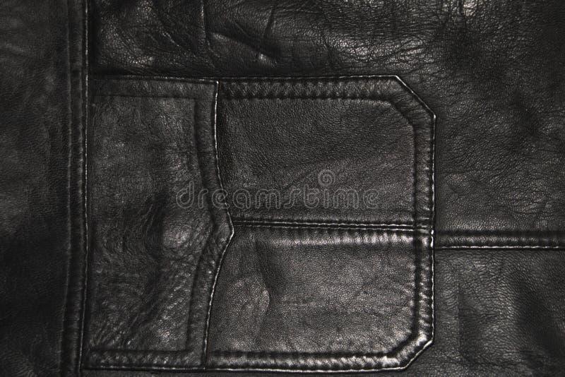 Fondo, la struttura di abbigliamento di cuoio, una tasca di un bomber nero fotografia stock libera da diritti