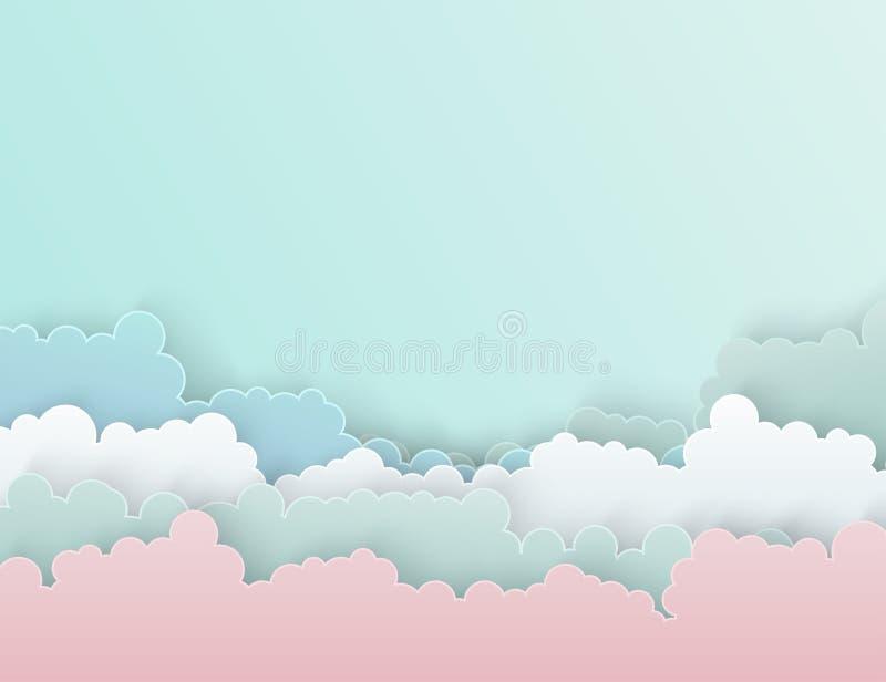 Fondo lanuginoso variopinto delle nuvole di arte di carta illustrazione vettoriale