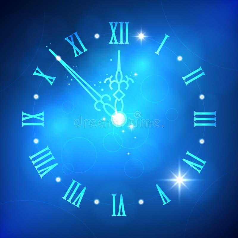 Fondo leggero astratto del buon anno con l'orologio royalty illustrazione gratis