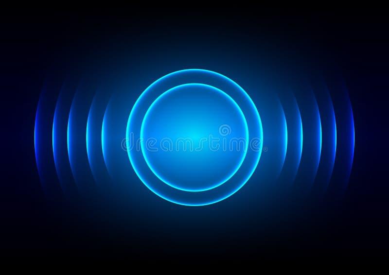 Fondo leggero blu digitale astratto dell'onda sonora illustrazione di stock