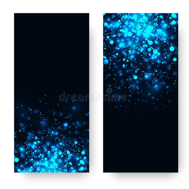 Fondo leggero d'ardore blu di scintillio di vettore Effetto della luce magico di incandescenza Scoppio della stella con le scinti illustrazione vettoriale