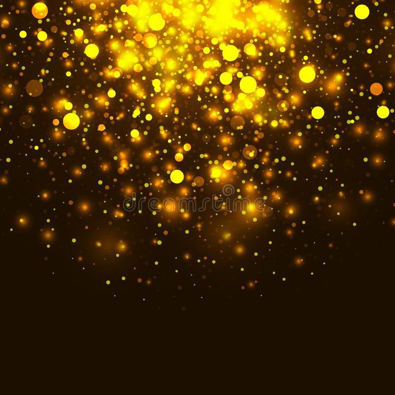 Fondo leggero d'ardore di scintillio dell'oro di vettore La magia di Natale accende il fondo illustrazione di stock
