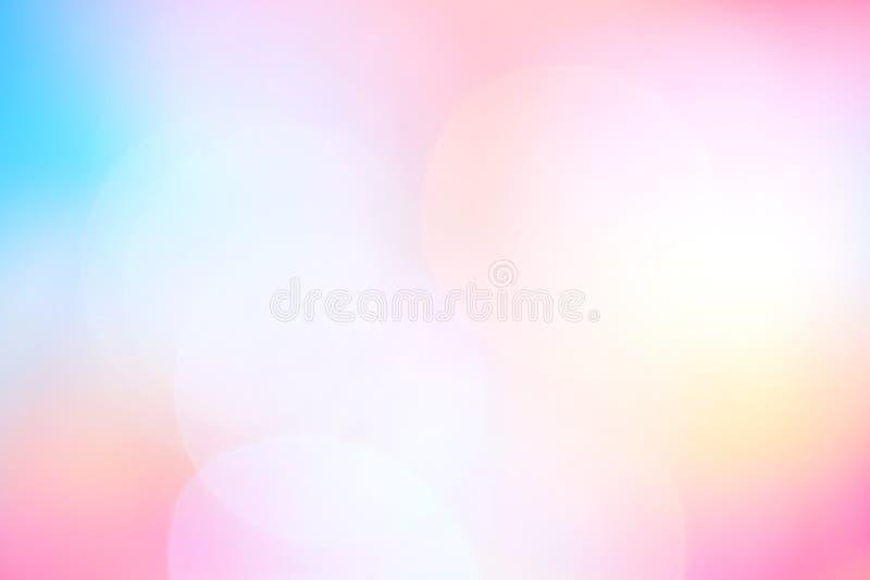 Fondo leggero variopinto vago del bokeh dell'ombra di pendenza blu rosa morbida, fondo rosa e blu molle pastello astratto di colo illustrazione di stock