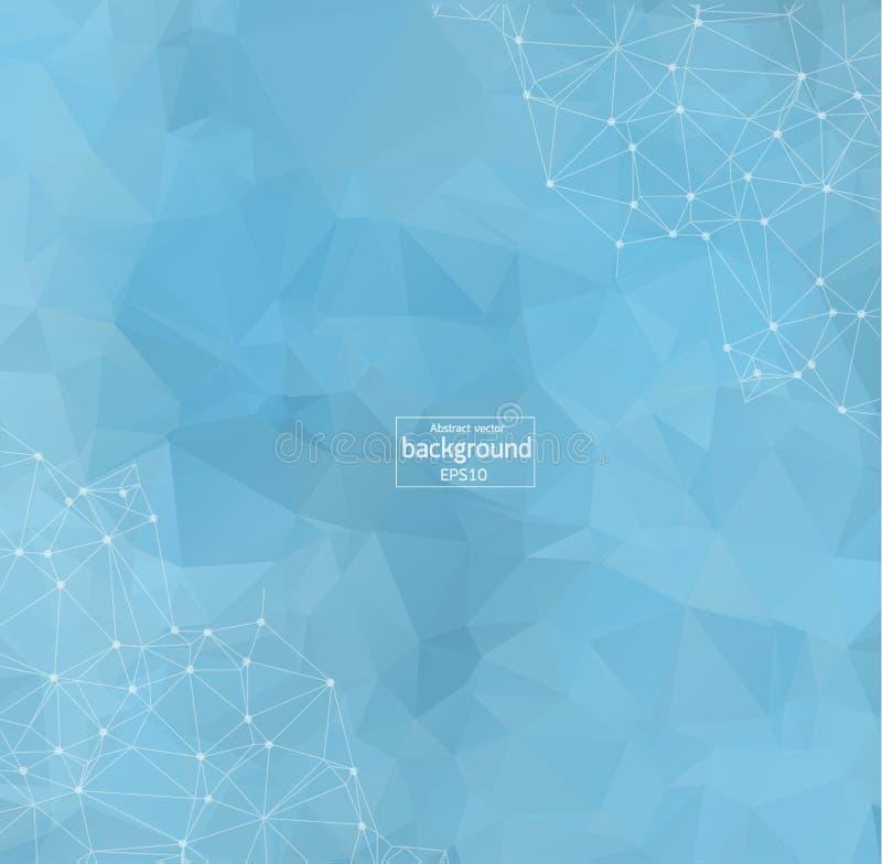 Fondo ligero azul poligonal del extracto con los puntos y las líneas conectados, estructura de la conexión, fondo futurista del h ilustración del vector