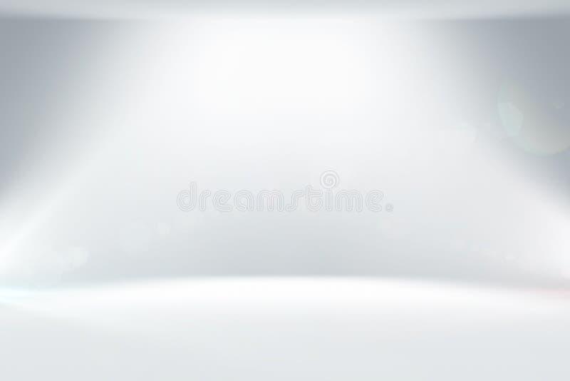 Fondo ligero blanco limpio del estudio del extracto con la iluminación ilustración del vector