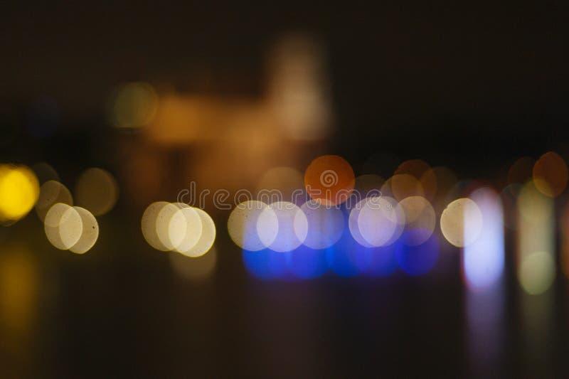 Fondo ligero colorido del extracto de Bokeh Ciudad de la noche fotografía de archivo