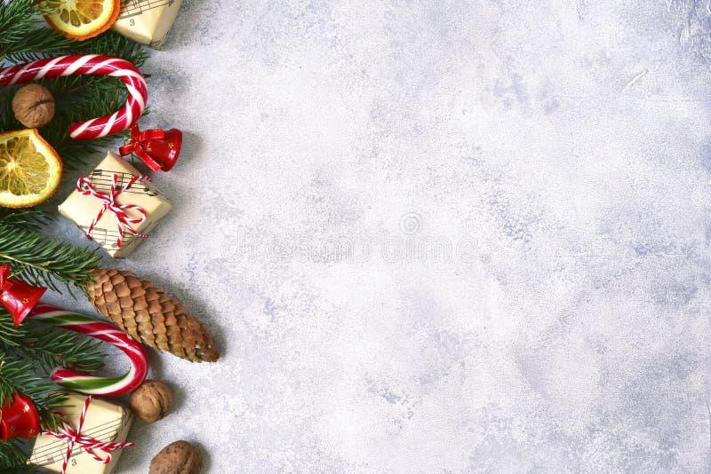 Fondo ligero de la Navidad Visión superior con el espacio de la copia fotos de archivo