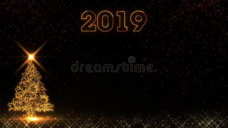 Fondo ligero de oro 2019 de los fuegos artificiales de las partículas del brillo del árbol de navidad de la Feliz Año Nuevo ilustración del vector