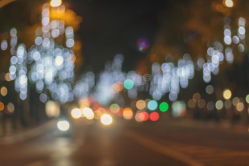 Fondo ligero del bokeh del extracto de la noche de la ciudad imagen de archivo libre de regalías