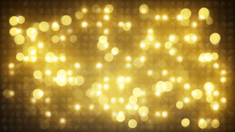 Fondo ligero del extracto de la pared del disco del oro ilustración del vector