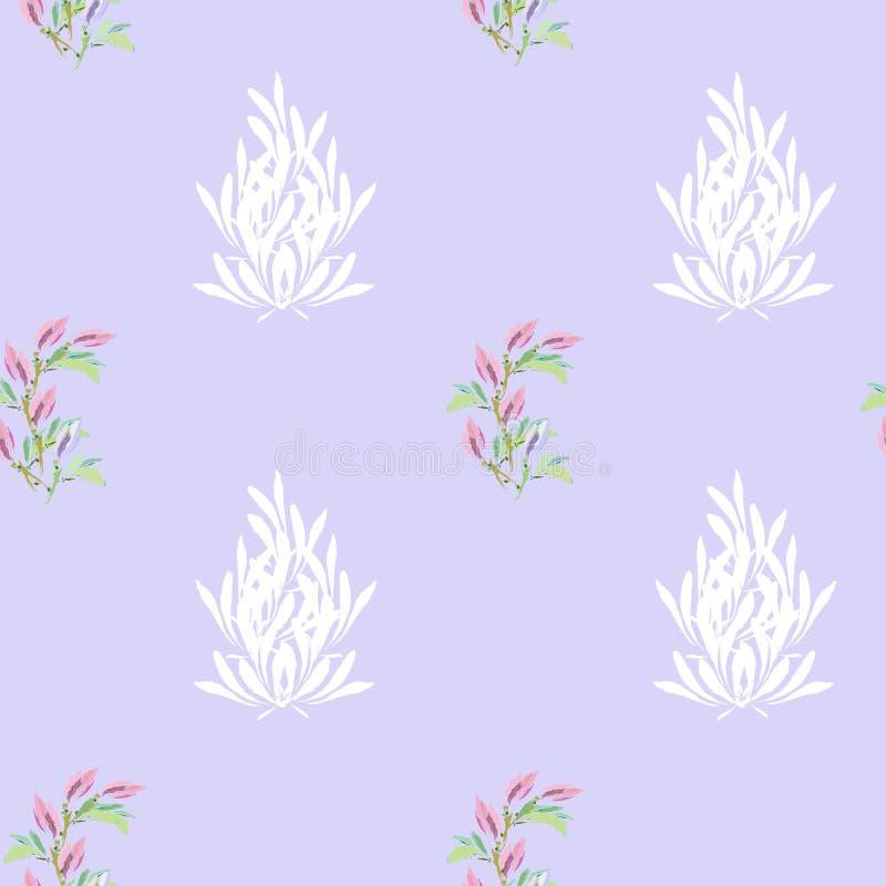 Fondo ligero del verano Flores de la primavera en un fondo de la lila Textura inconsútil para las telas, tejas stock de ilustración