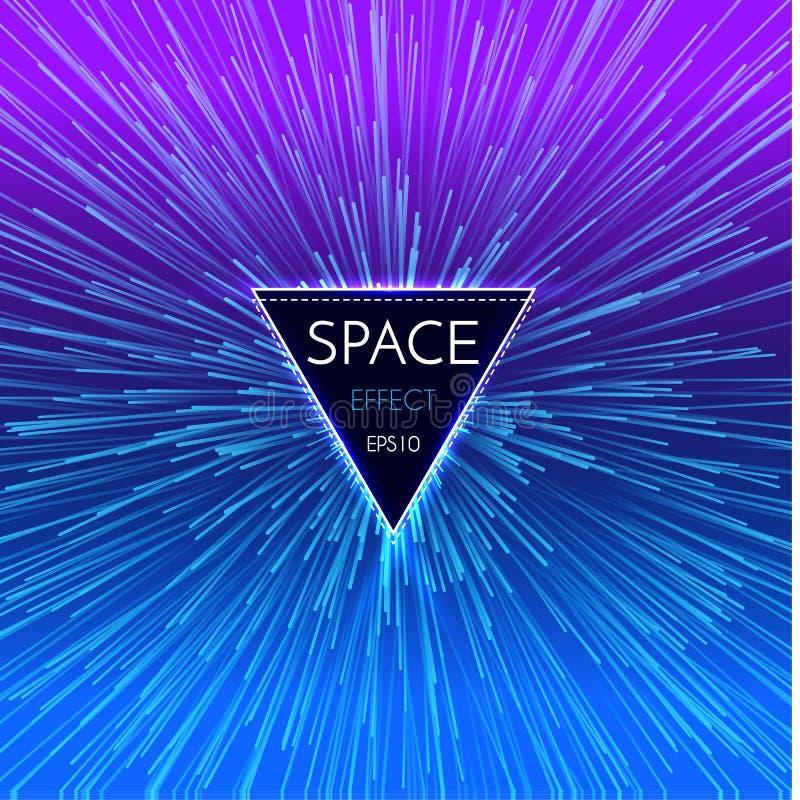 Fondo ligero futurista abstracto de la perspectiva y del movimiento Deformación de la estrella en Hyperspace Salto del espacio libre illustration