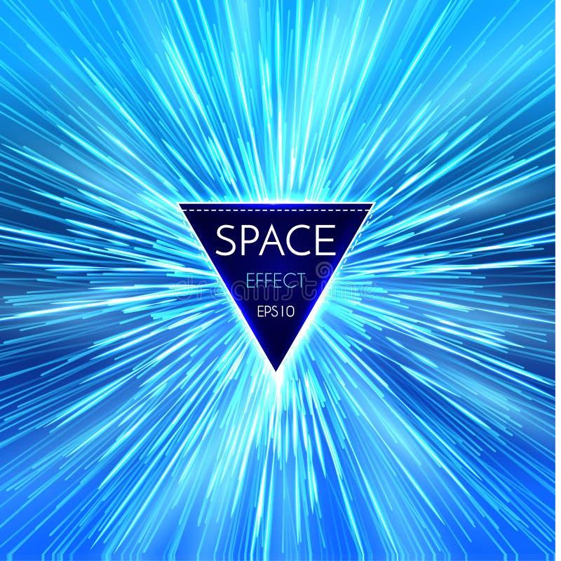 Fondo ligero futurista abstracto de la perspectiva y del movimiento Deformación de la estrella en Hyperspace Salto del espacio ilustración del vector