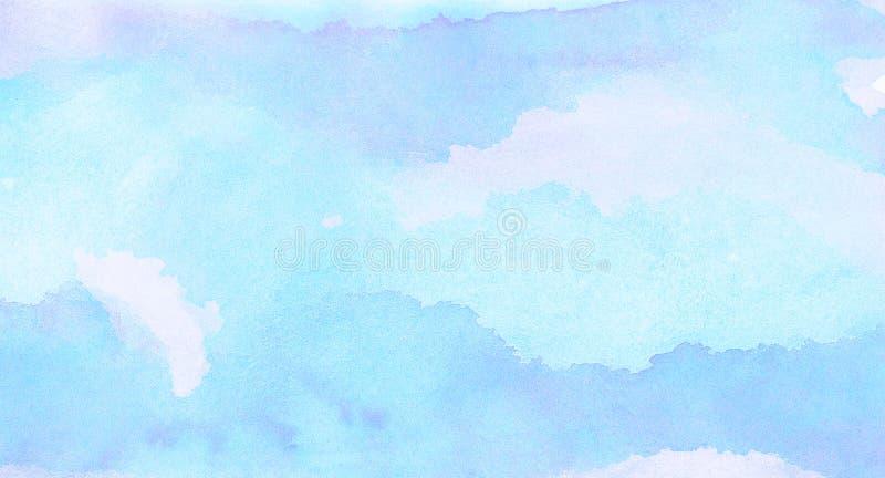 Fondo ligero manchado suavidad de la acuarela del color del azul de cielo La acuarela pintó la lona texturizada de papel para el  imagenes de archivo
