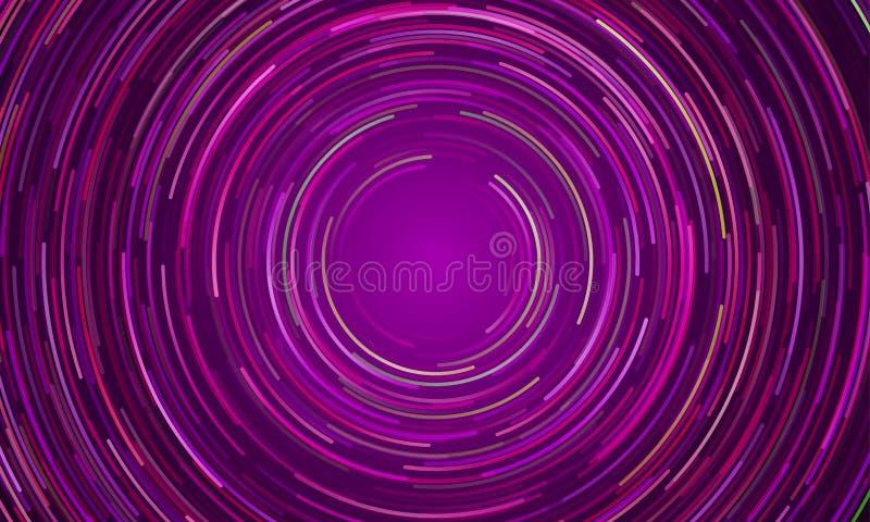 Fondo ligero púrpura del movimiento del vórtice circular stock de ilustración
